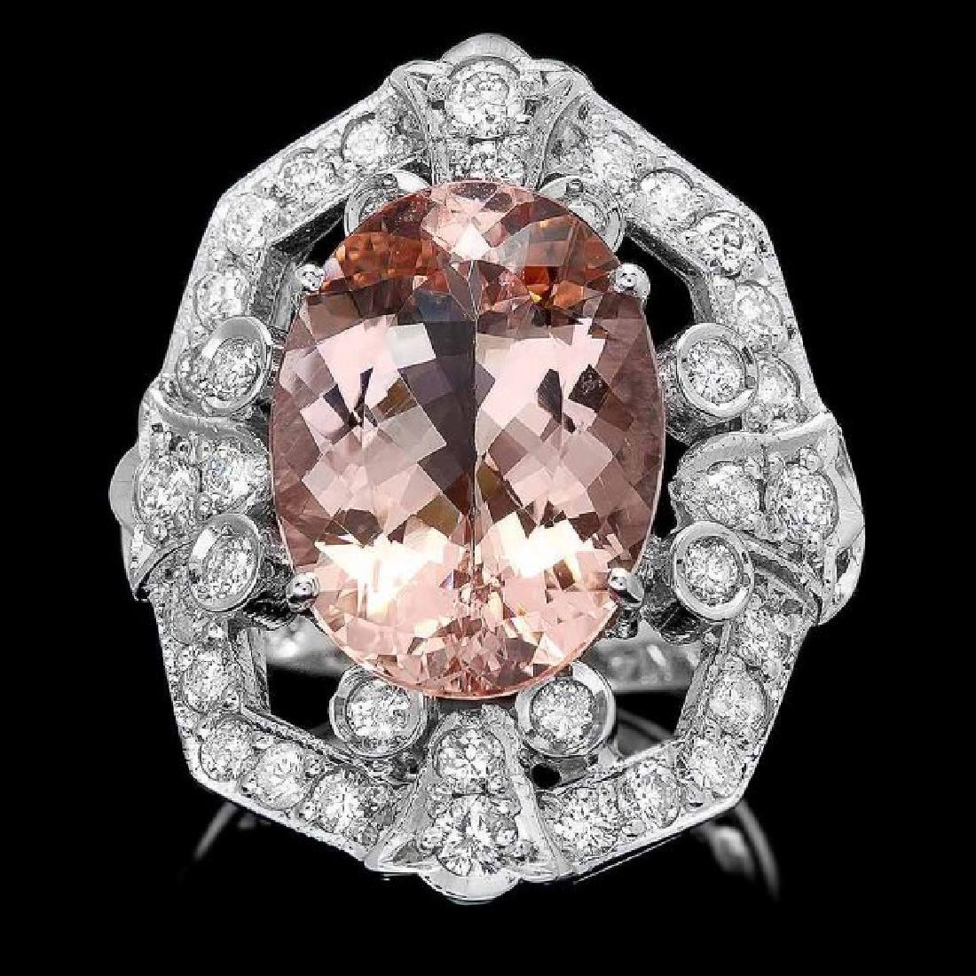 14k Gold 7.50ct Morganite 1.35ct Diamond Ring