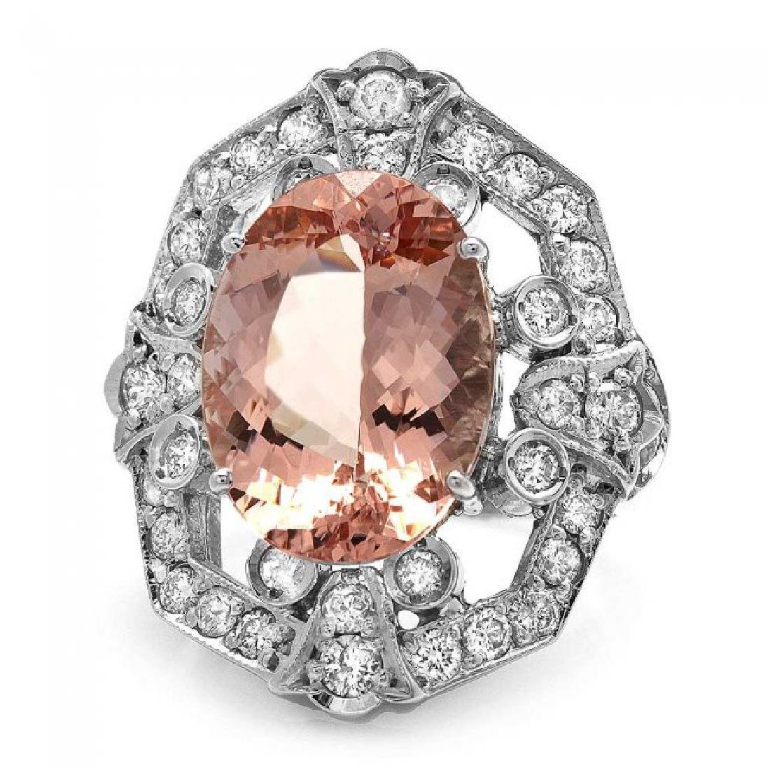 14k Gold 7.50ct Morganite 1.35ct Diamond Ring - 2