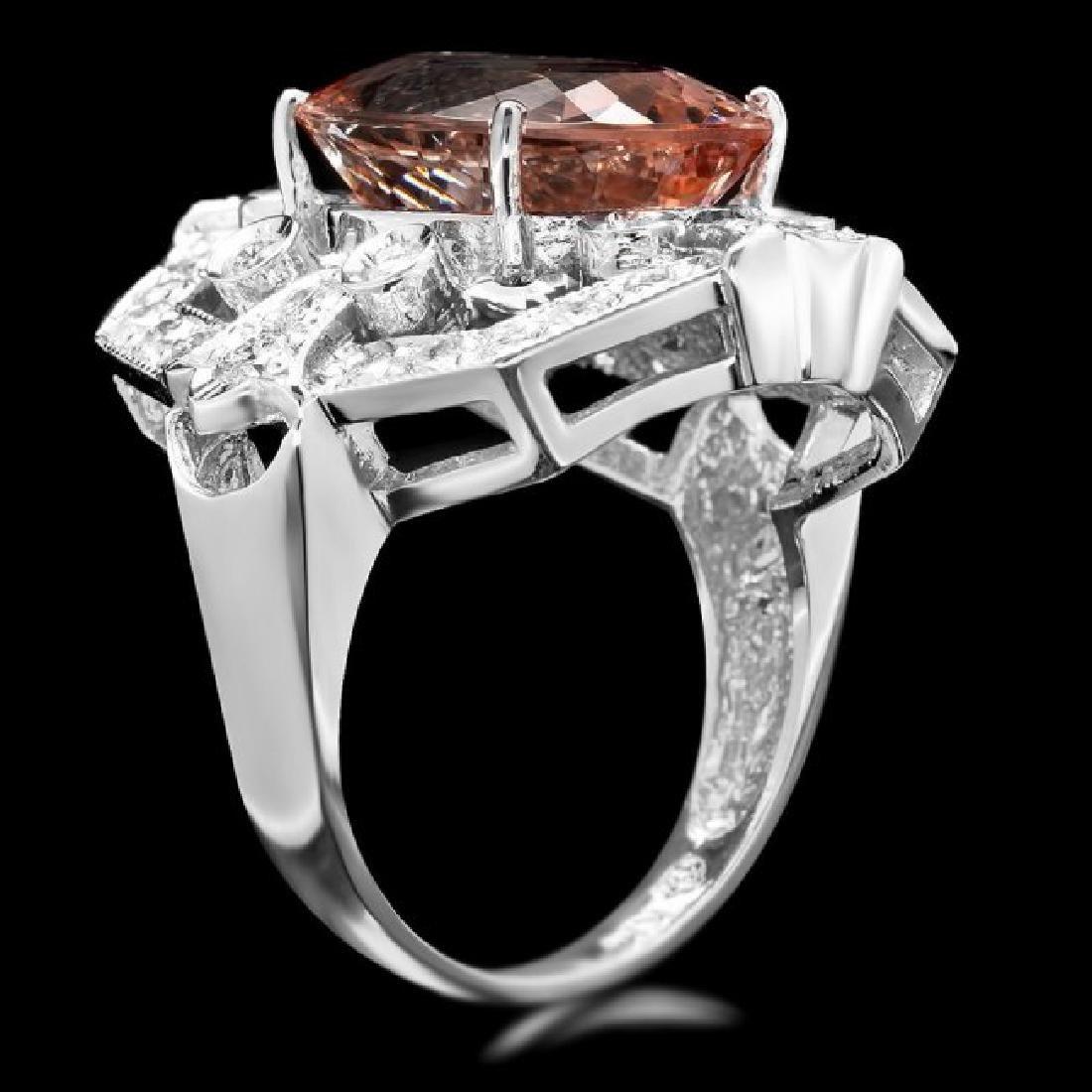 14k Gold 7.50ct Morganite 1.35ct Diamond Ring - 3
