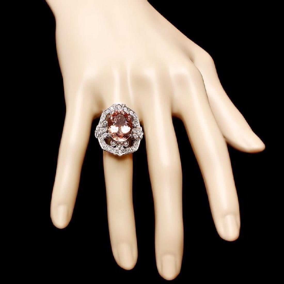 14k Gold 7.50ct Morganite 1.35ct Diamond Ring - 4