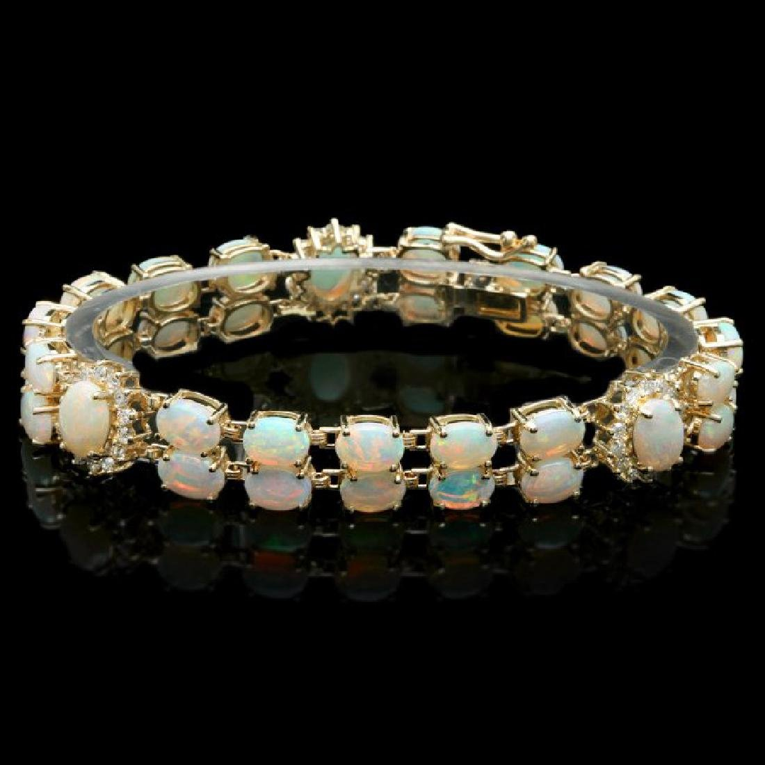 14k Gold 16.5ct Opal 1.10ct Diamond Bracelet