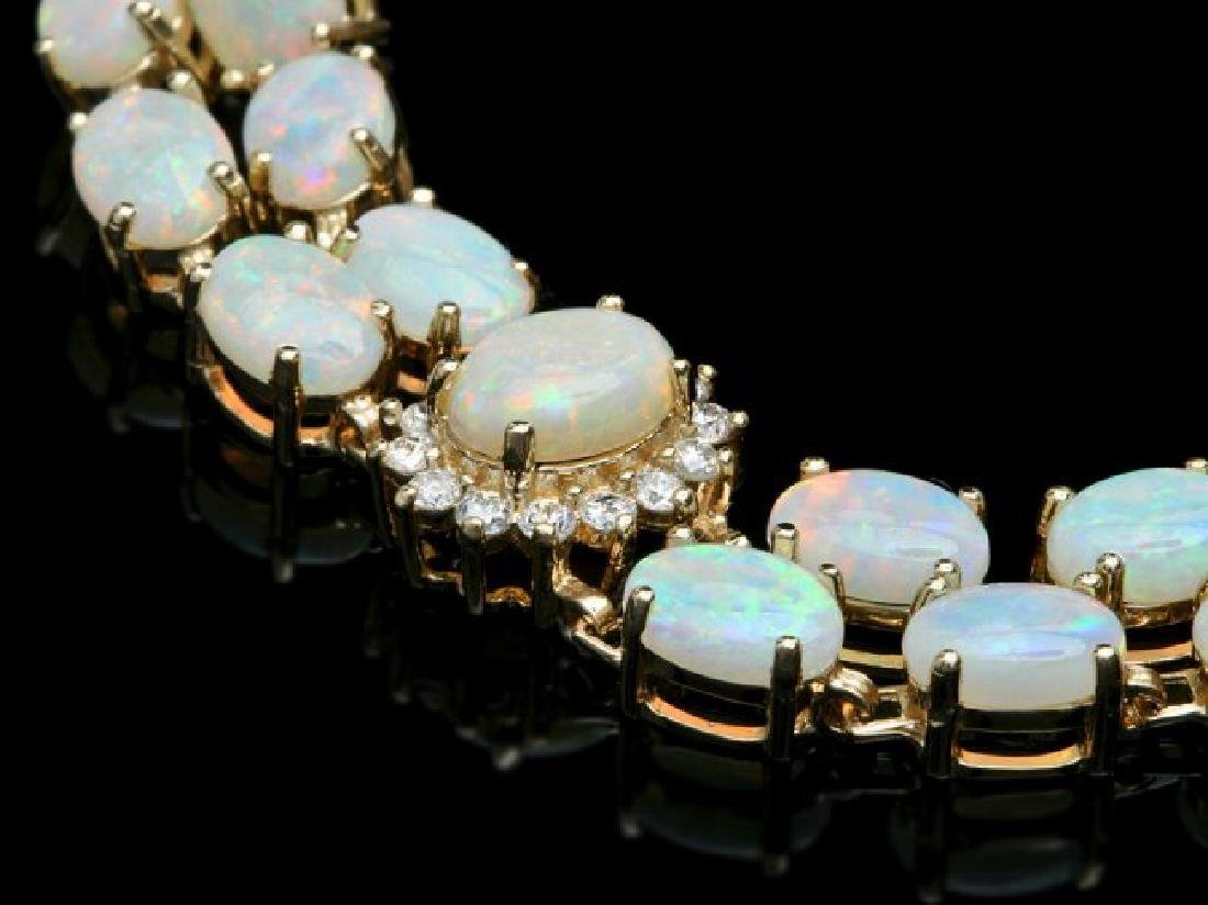14k Gold 16.5ct Opal 1.10ct Diamond Bracelet - 2