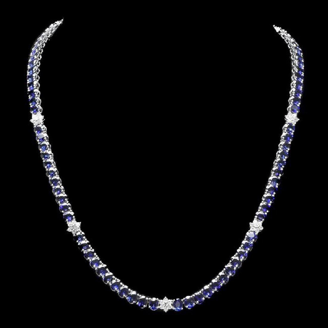 14k Gold 40.00ct Sapphire 1.30ct Diamond Necklace
