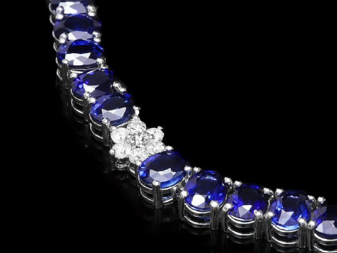 14k Gold 40.00ct Sapphire 1.30ct Diamond Necklace - 2