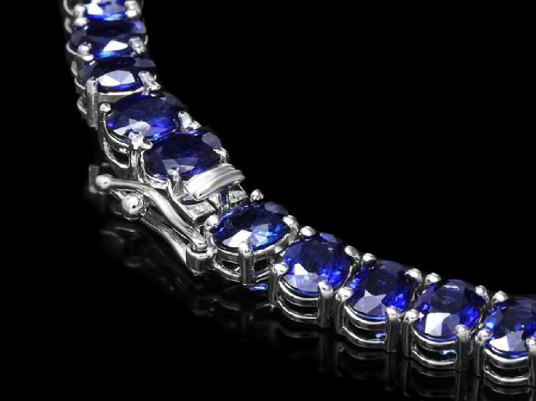 14k Gold 40.00ct Sapphire 1.30ct Diamond Necklace - 3