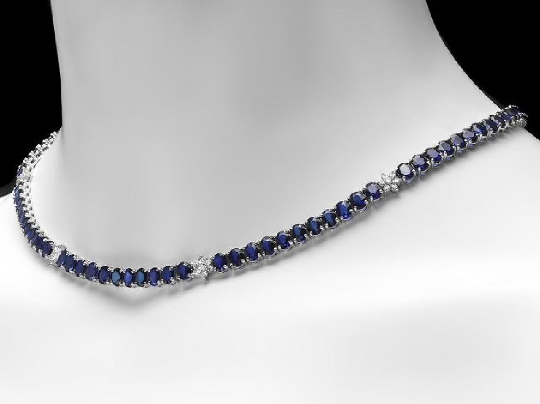 14k Gold 40.00ct Sapphire 1.30ct Diamond Necklace - 4