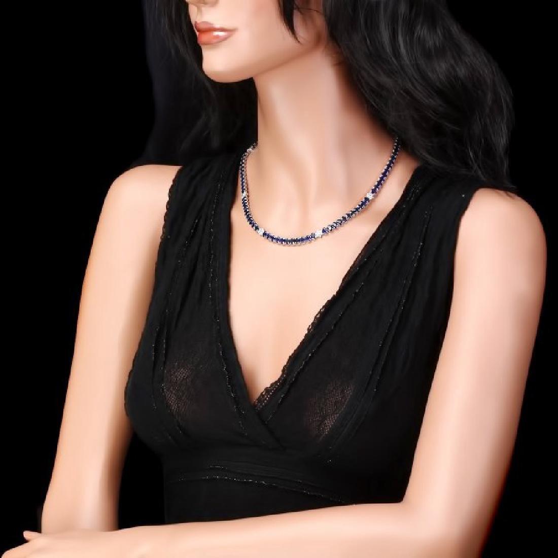 14k Gold 40.00ct Sapphire 1.30ct Diamond Necklace - 5