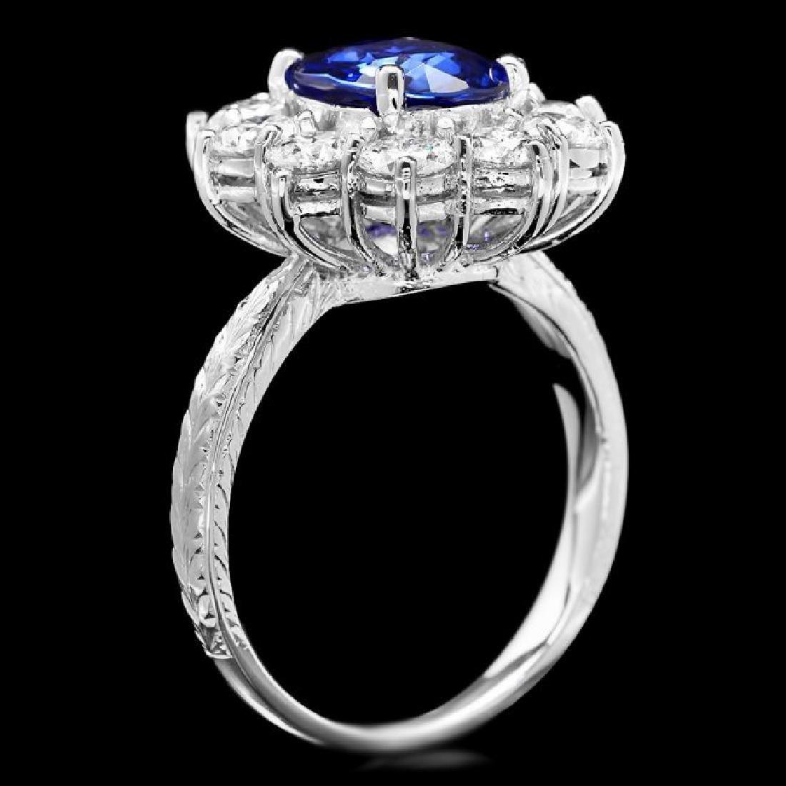 18k Gold 2.00ct Sapphire 2.00ct Diamond Ring - 3