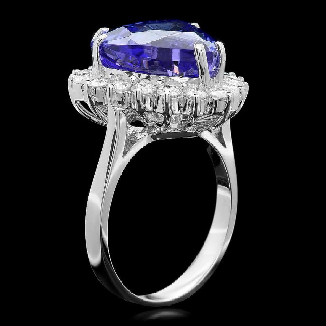 18k Gold 10.00ct Tanzanite 1.10ct Diamond Ring - 2