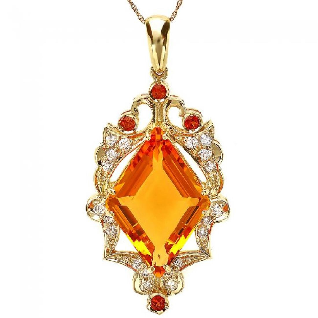 14k Gold 15ct Citrine 0.70ct Diamond Pendant - 2