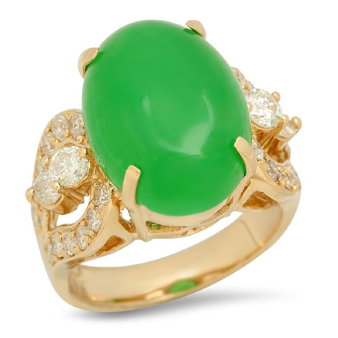 14K Gold 9.38ct Jadeite 1.25cts Diamond Ring