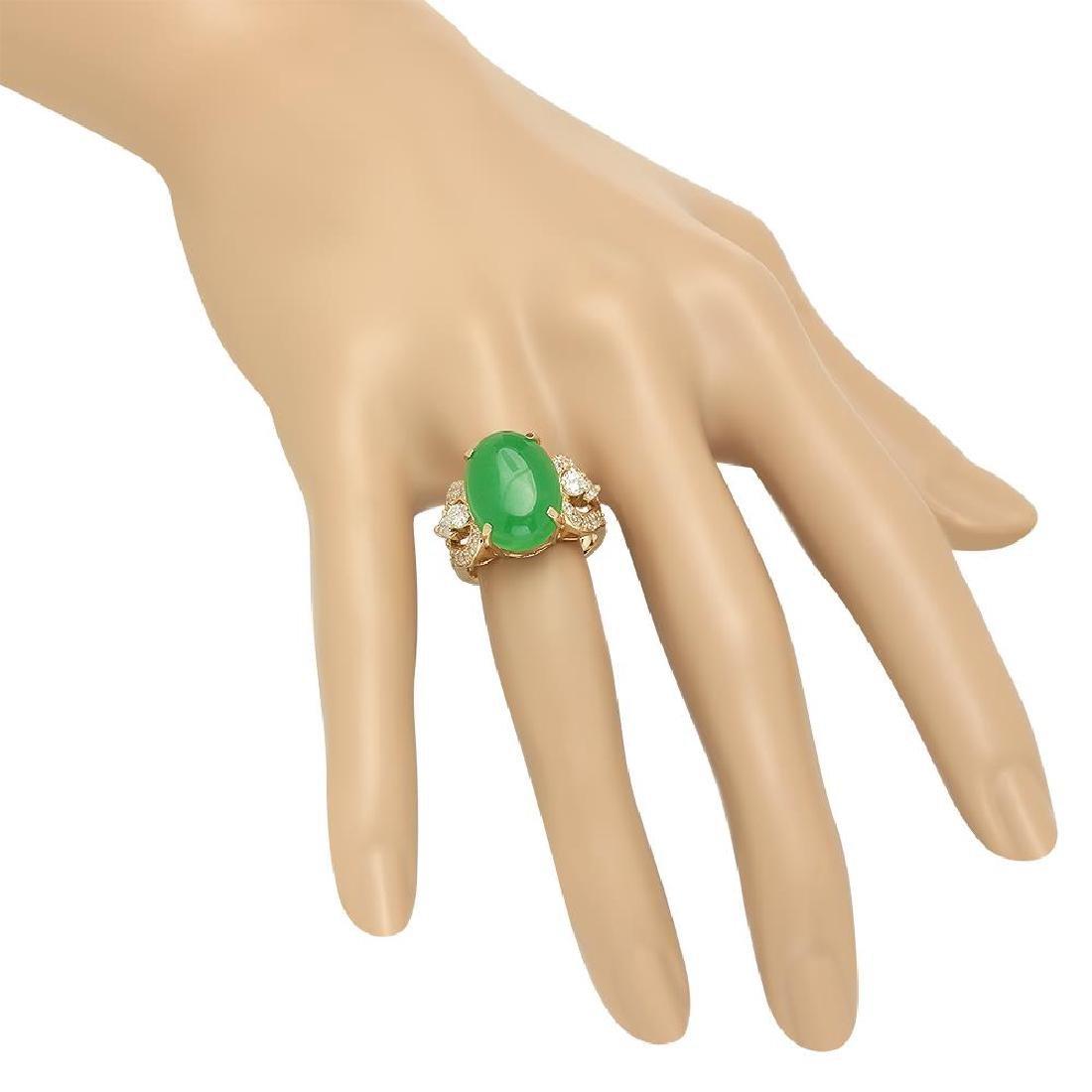 14K Gold 9.38ct Jadeite 1.25cts Diamond Ring - 3