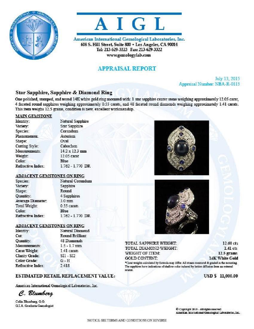 14K Gold 12.60ct Star Sapphire, 0.55ct Sapphire  1.41ct - 4