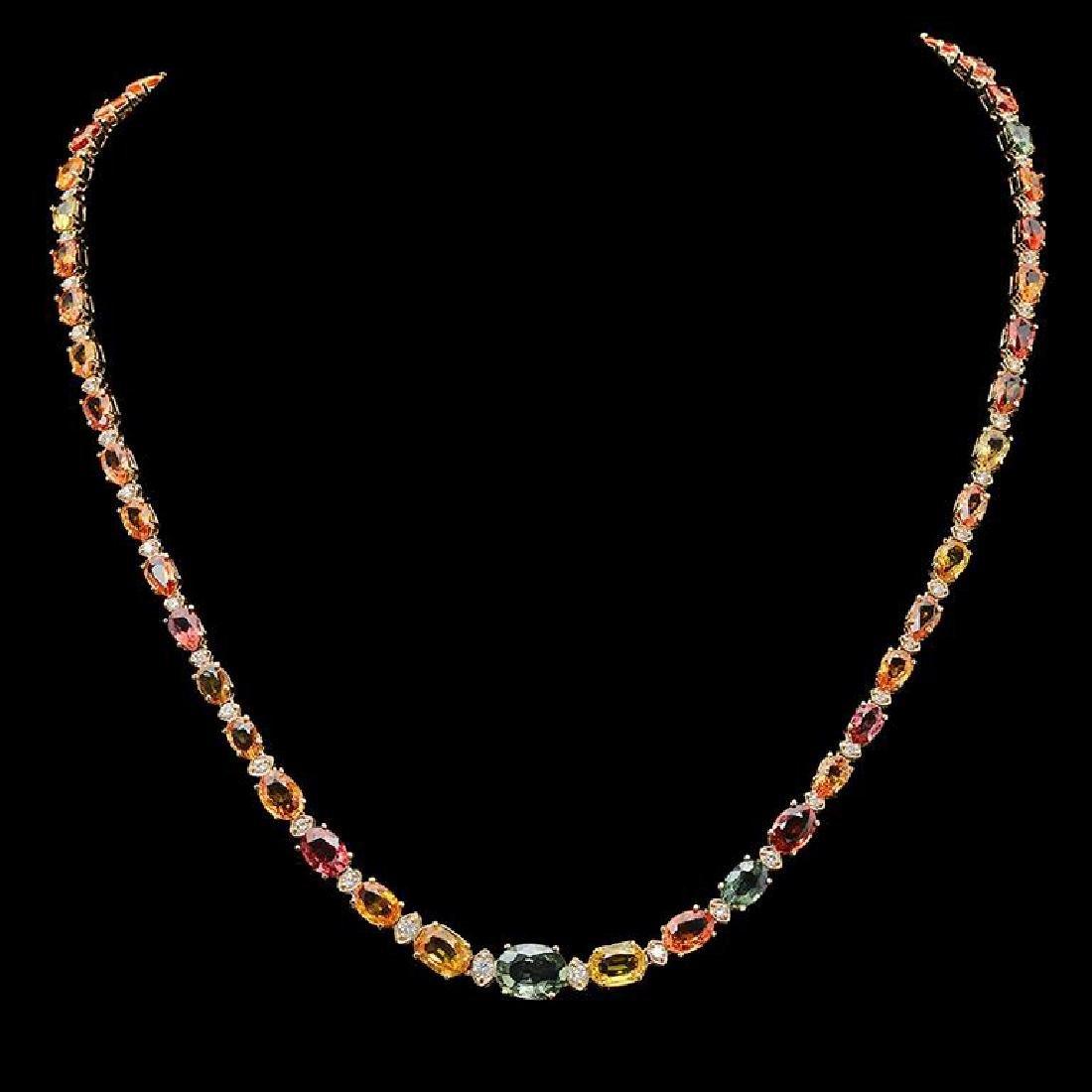 14K Gold 27.10ct Multi-Color Sapphire & 1.21ct Diamond