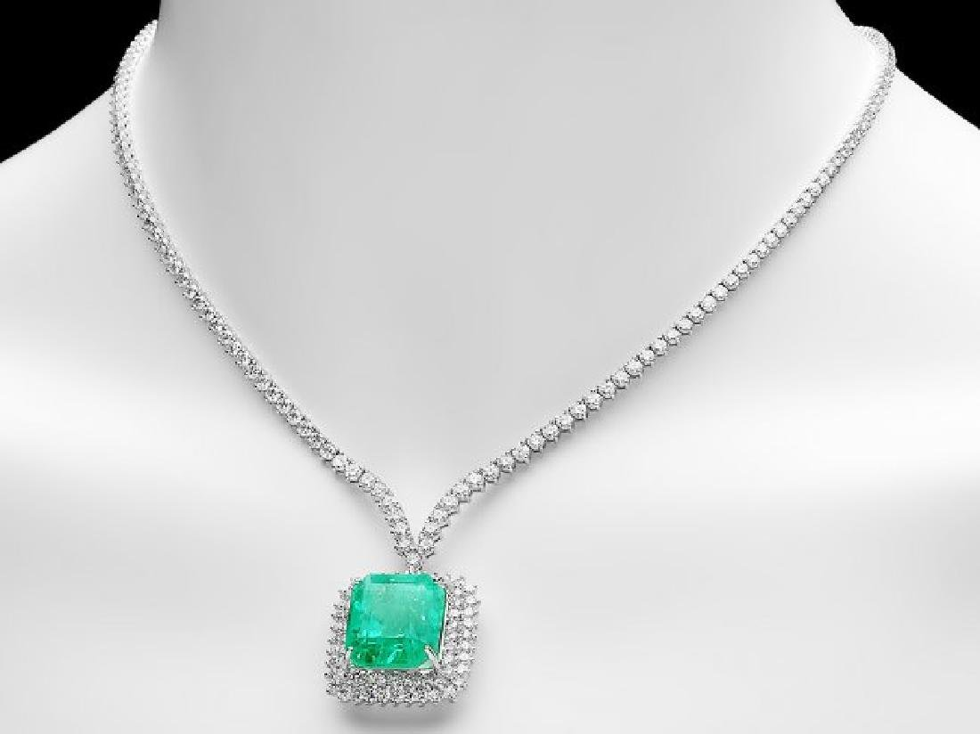 18k Gold 17.00ct Emerald 10.70ct Diamond Necklace - 2