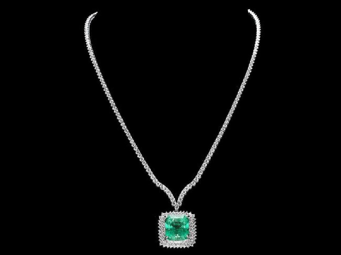 18k Gold 17.00ct Emerald 10.70ct Diamond Necklace - 4