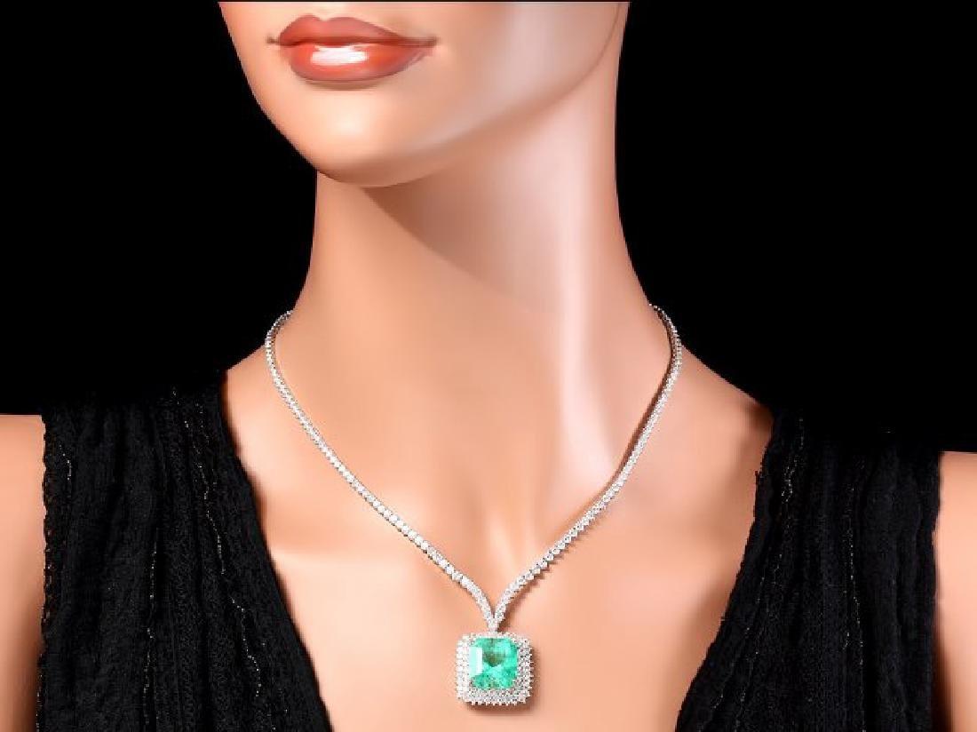 18k Gold 17.00ct Emerald 10.70ct Diamond Necklace - 6