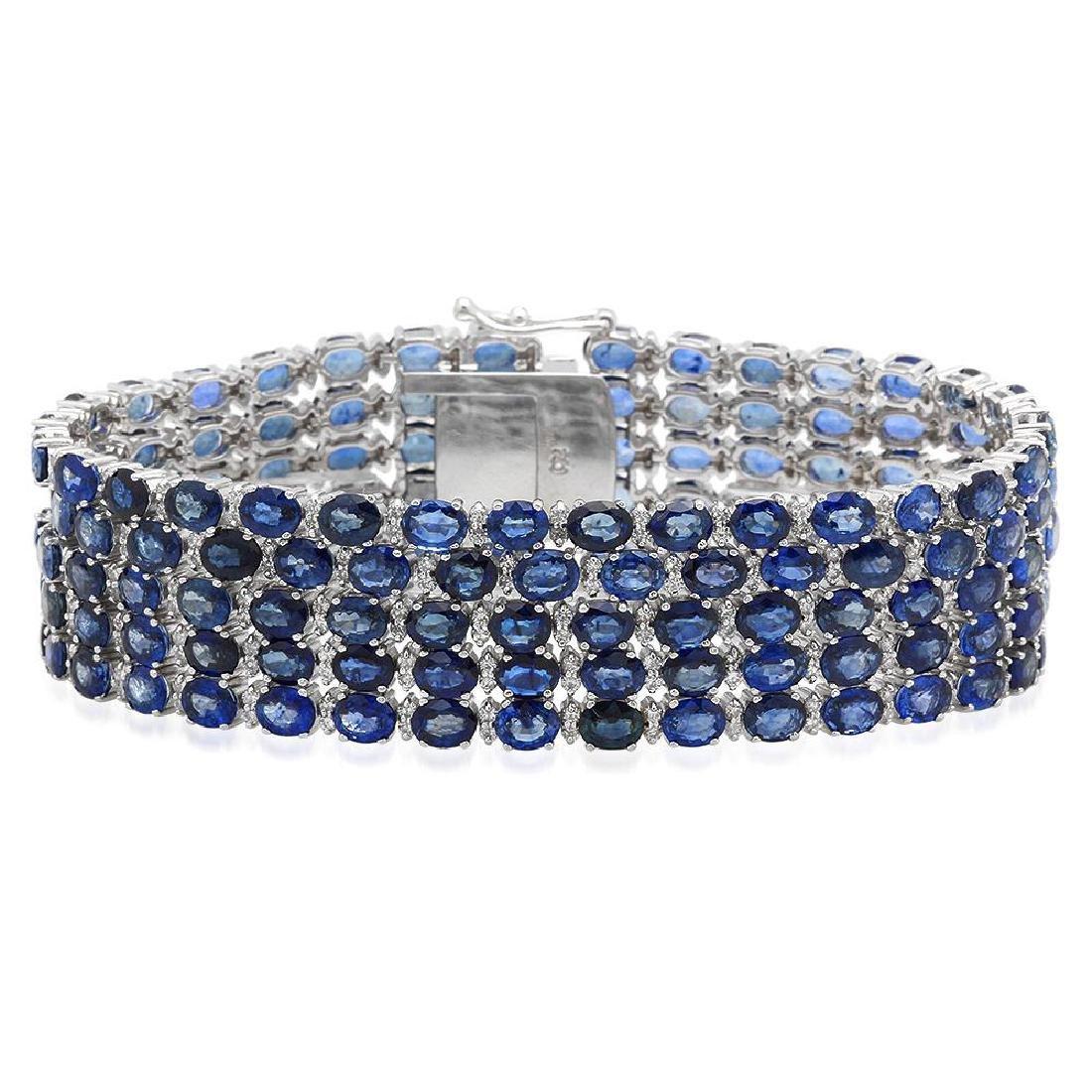18K Gold 48.44ct Sapphire 4.02ct Diamond Bracelet
