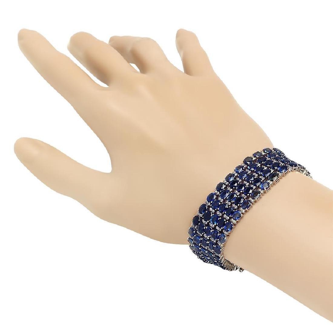 18K Gold 48.44ct Sapphire 4.02ct Diamond Bracelet - 2