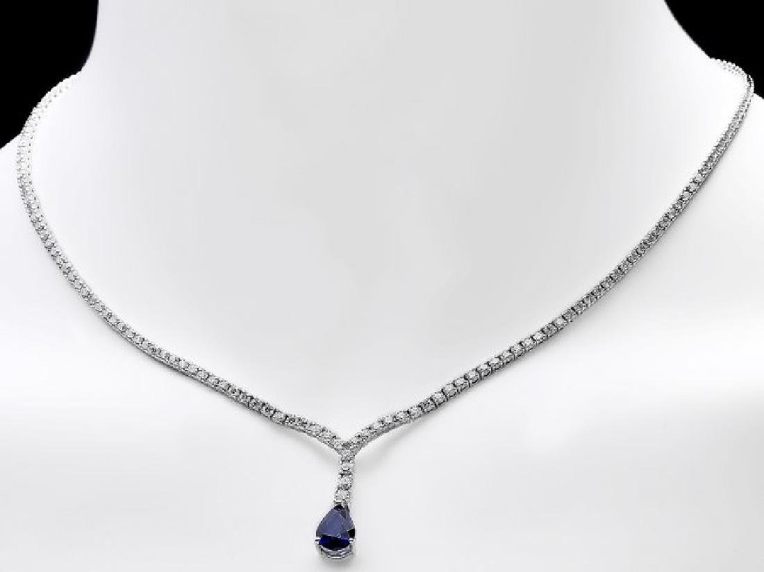 18k Gold 1.50ct Sapphire 3.50ct Diamond Necklace - 6