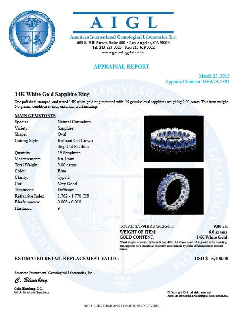 14k White Gold 9.00ct Sapphire Ring - 4