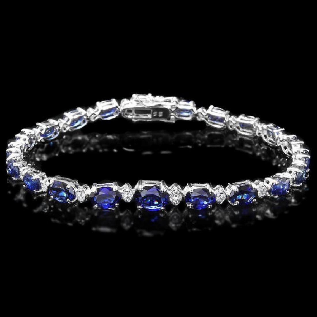 14k Gold 13.00ct Sapphire 0.75ct Diamond Bracelet