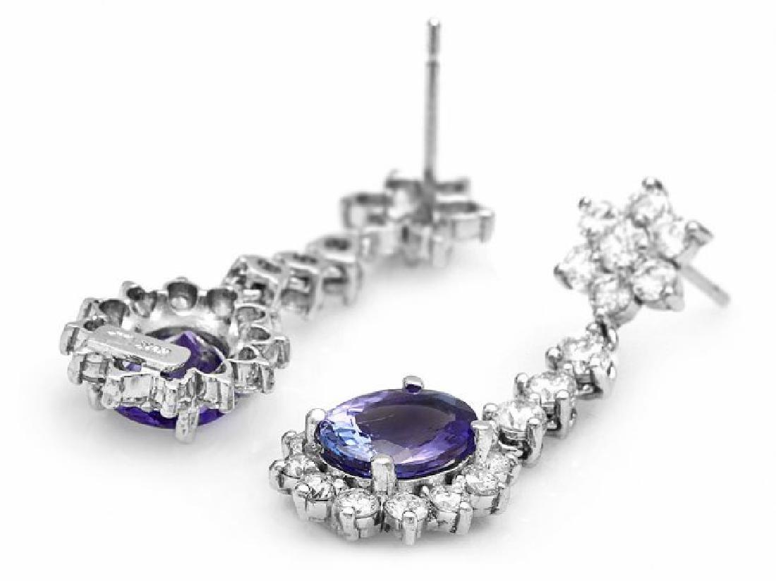 14k Gold 3.50ct Tanzanite 2.80ct Diamond Earrings - 2