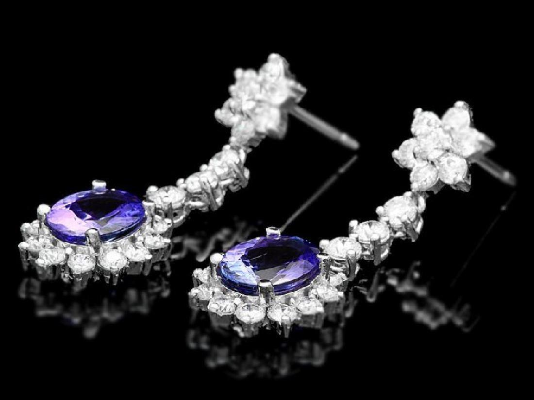 14k Gold 3.50ct Tanzanite 2.80ct Diamond Earrings - 3