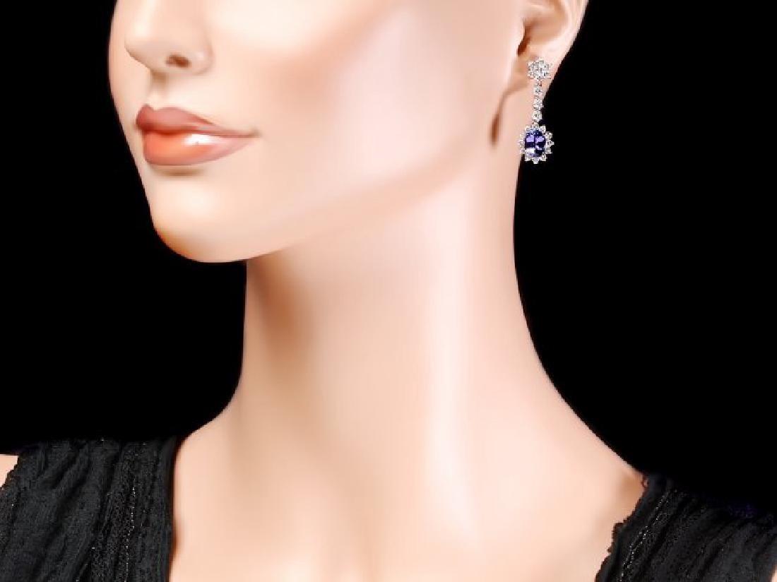 14k Gold 3.50ct Tanzanite 2.80ct Diamond Earrings - 4