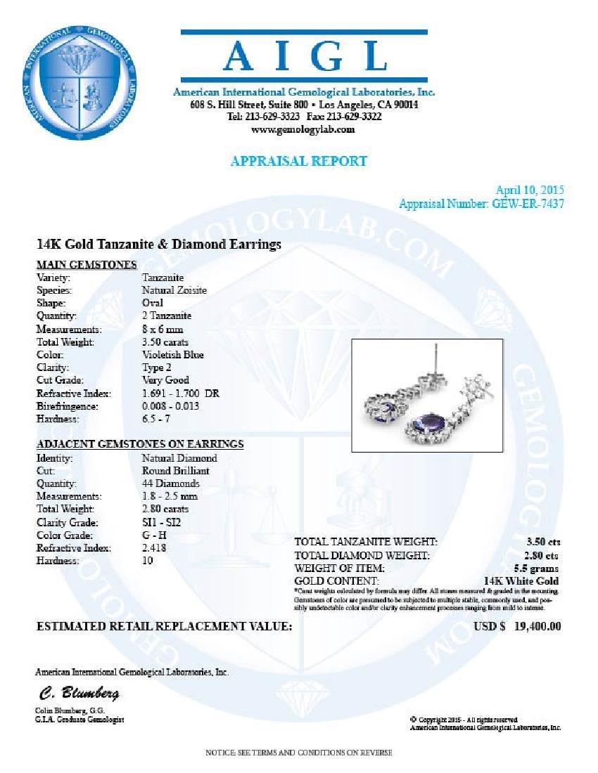 14k Gold 3.50ct Tanzanite 2.80ct Diamond Earrings - 5