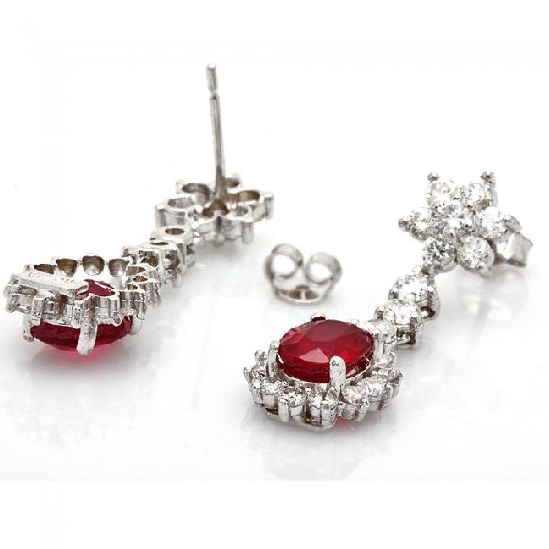 14k Gold 4.00ct Ruby 2.50ct Diamond Earrings - 2