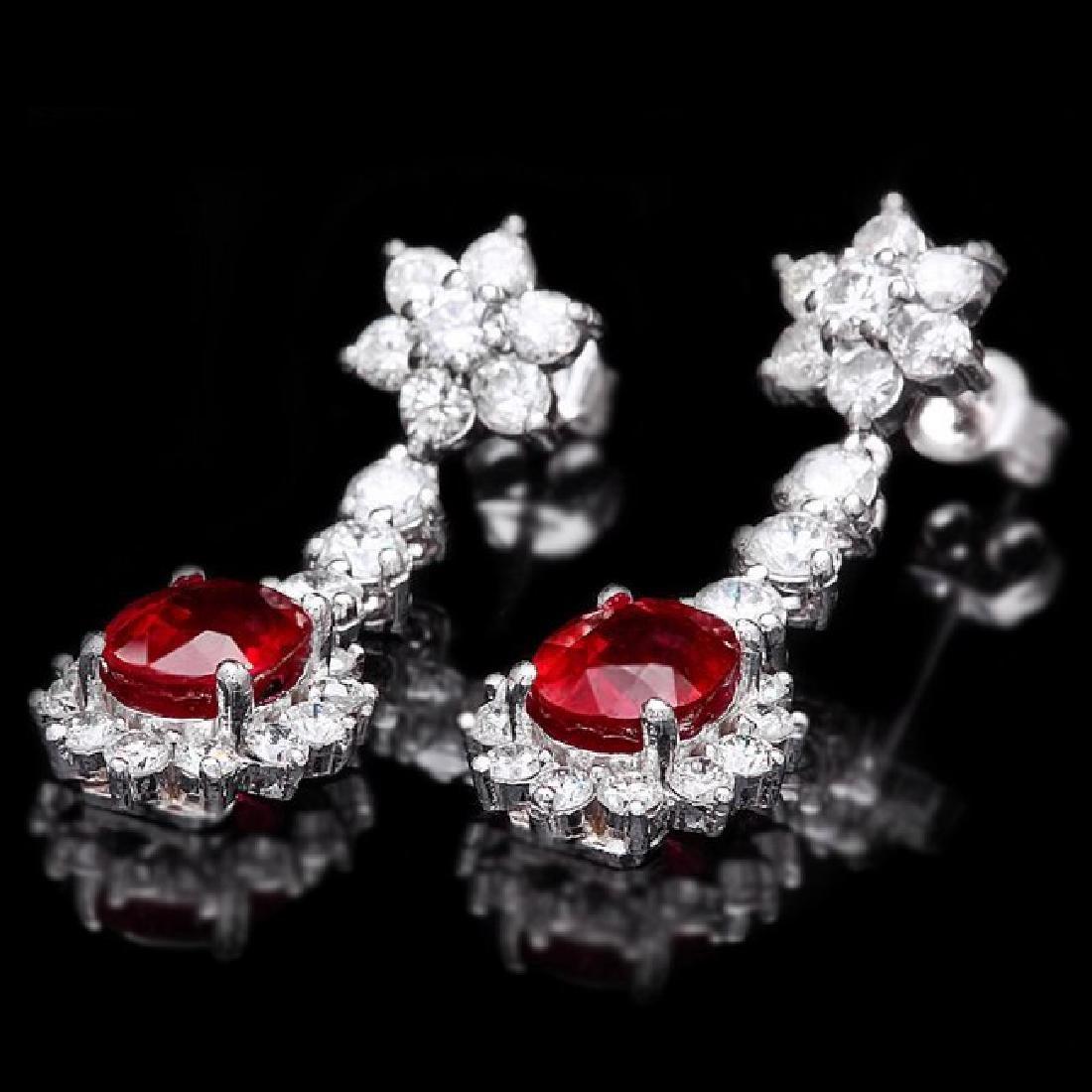 14k Gold 4.00ct Ruby 2.50ct Diamond Earrings - 3
