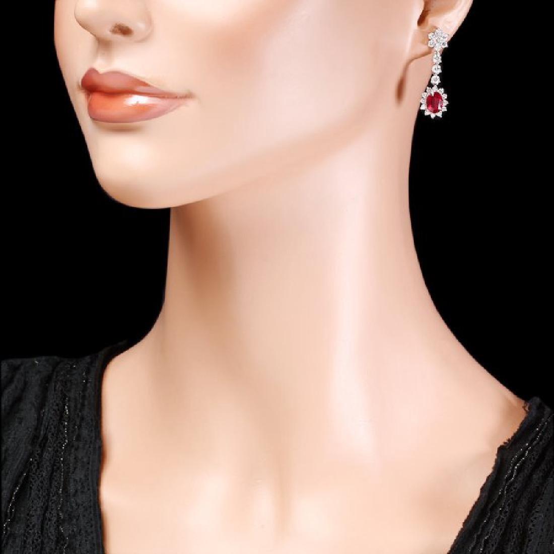 14k Gold 4.00ct Ruby 2.50ct Diamond Earrings - 4