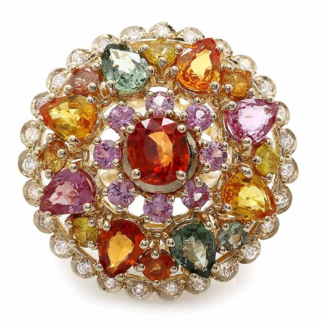 14k Gold 11.5ct Sapphire 0.75ct Diamond Ring - 2