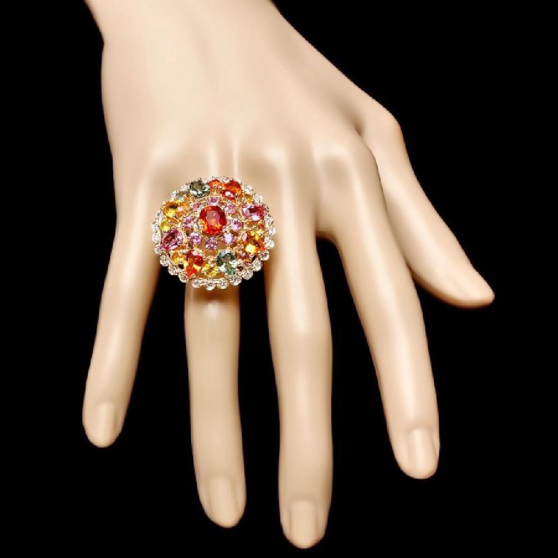14k Gold 11.5ct Sapphire 0.75ct Diamond Ring - 4