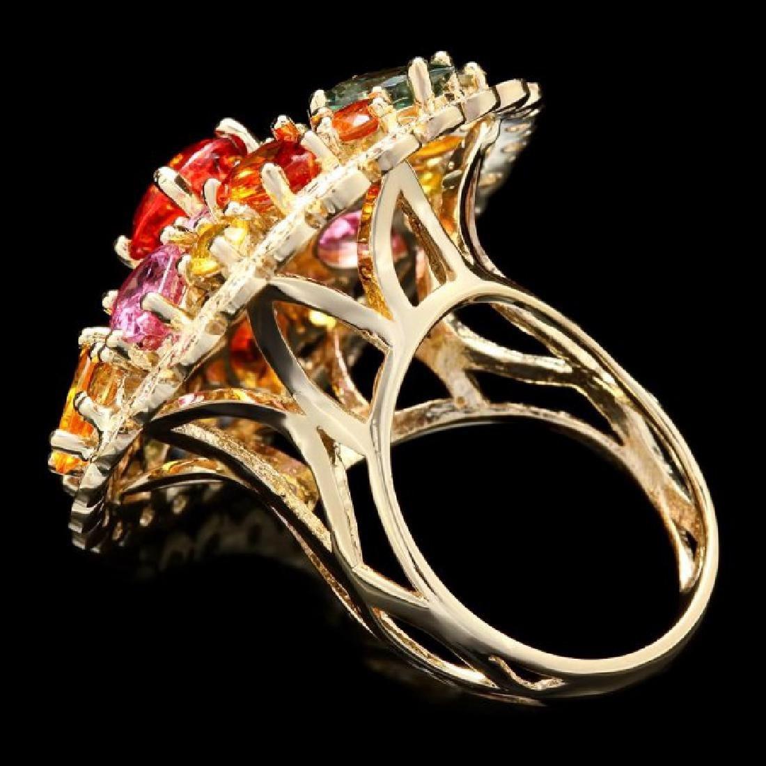 14k Gold 11.5ct Sapphire 0.75ct Diamond Ring - 5