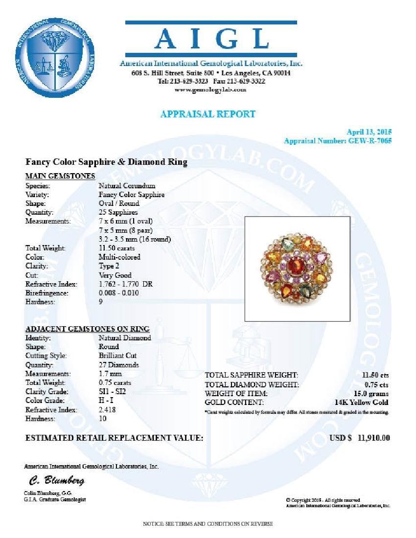 14k Gold 11.5ct Sapphire 0.75ct Diamond Ring - 6