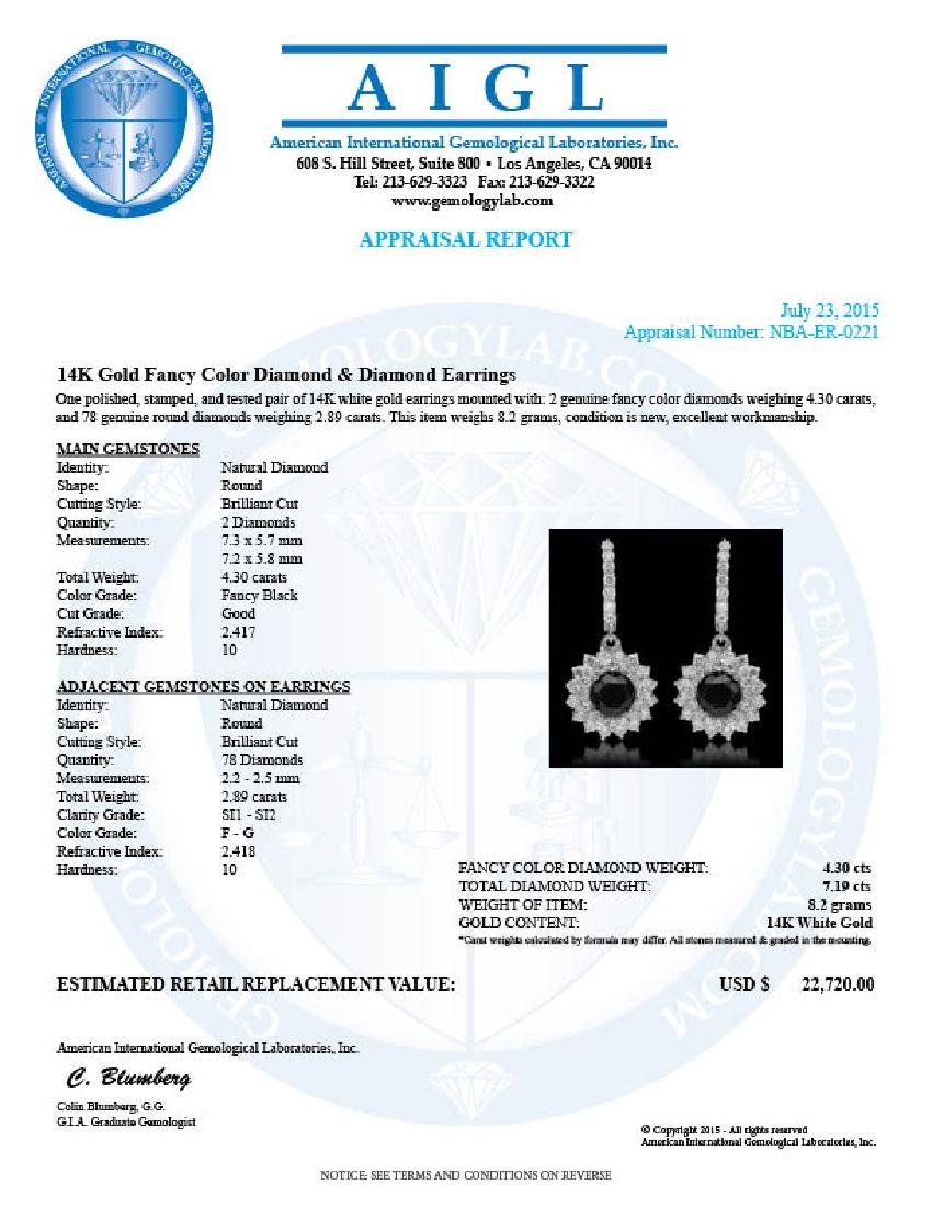 14k Gold 4.30ct Fancy Color Diamond & 7.19ct Diamond - 3
