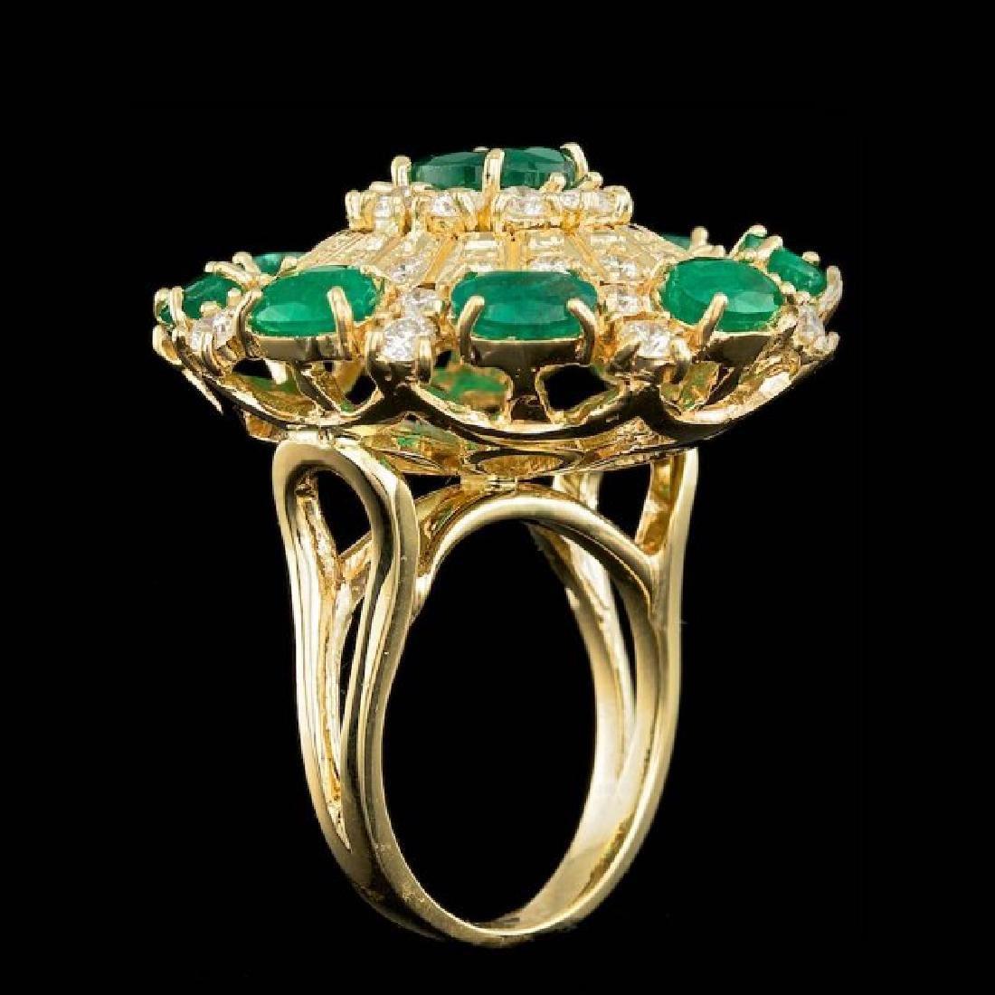 14k Gold 5.00ct Emerald 2.00ct Diamond Ring - 5