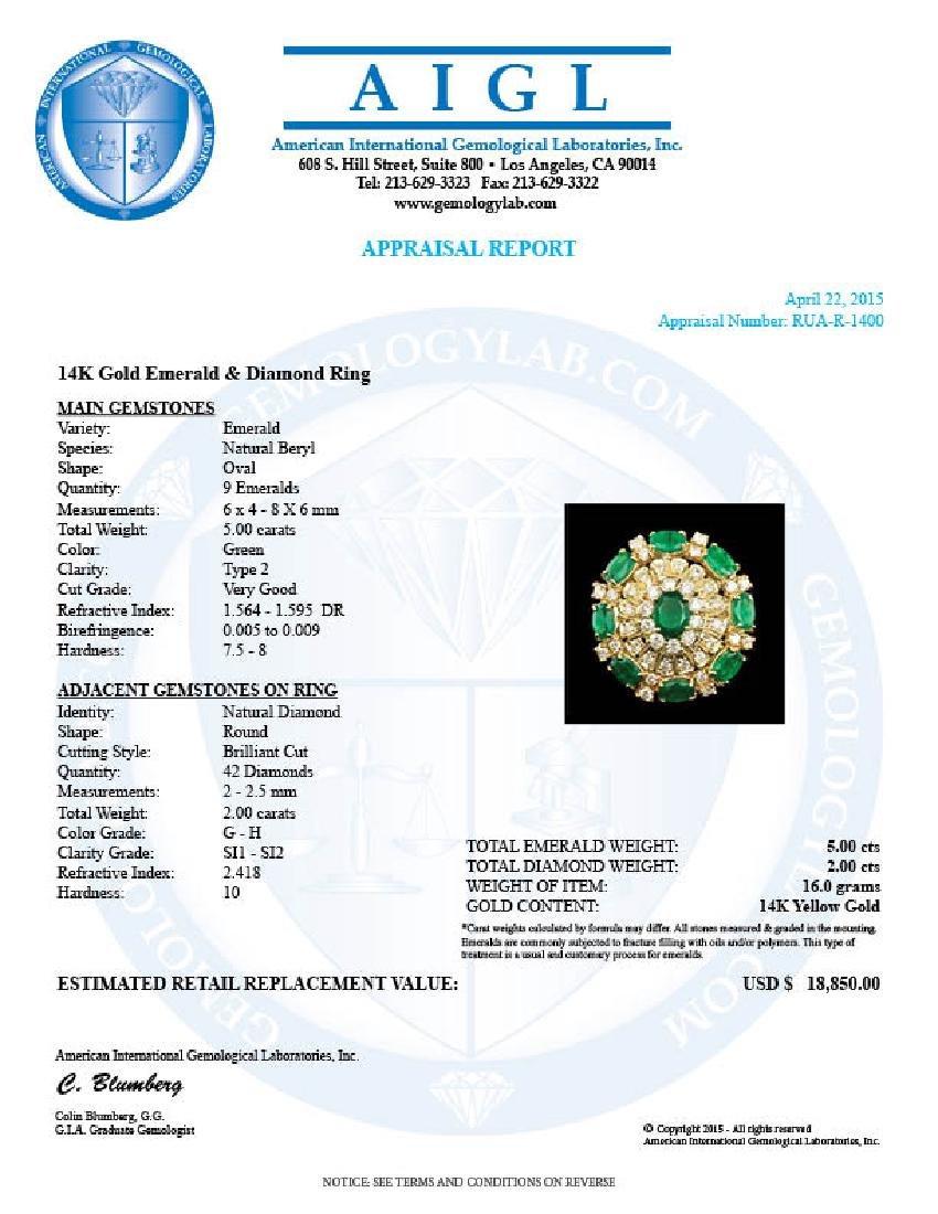 14k Gold 5.00ct Emerald 2.00ct Diamond Ring - 8