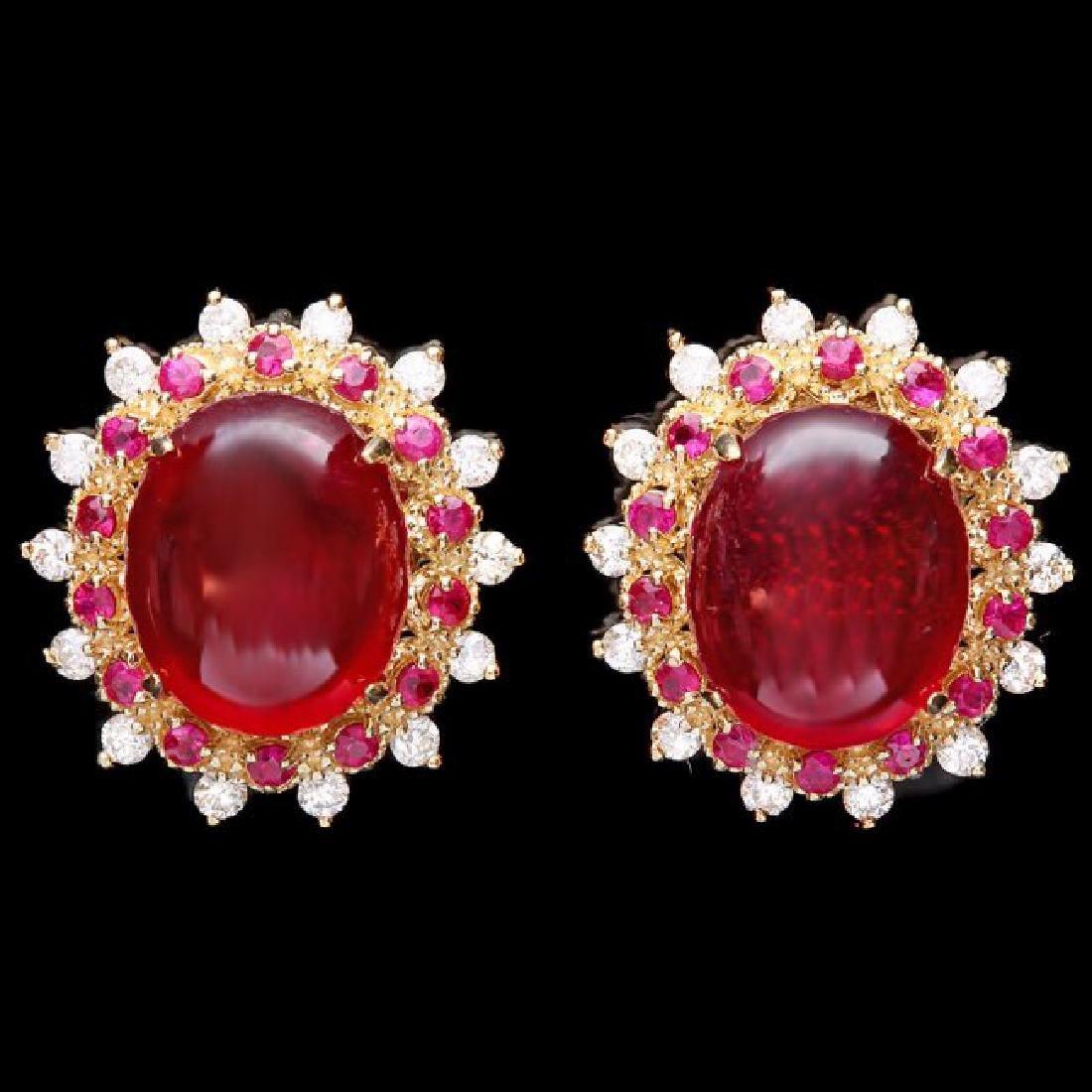14k Gold 17.5ct Ruby 0.80ct Diamond Earrings