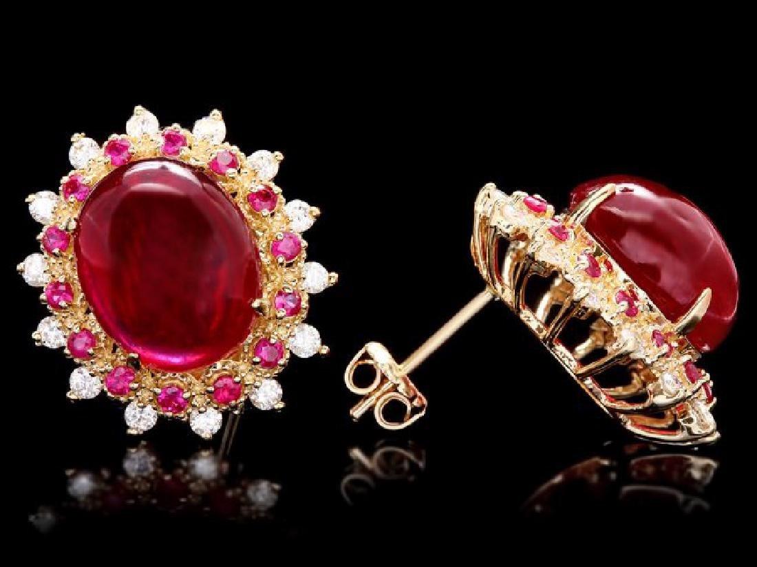 14k Gold 17.5ct Ruby 0.80ct Diamond Earrings - 3