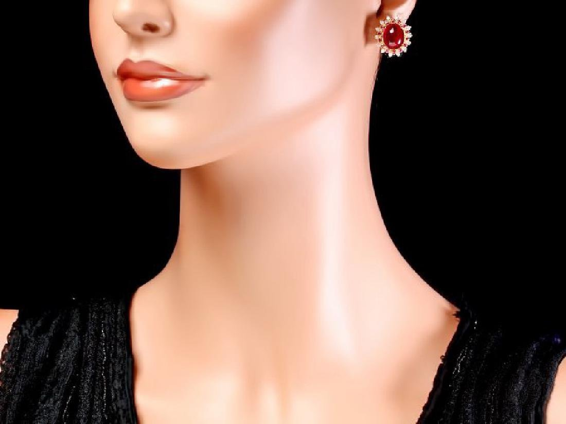 14k Gold 17.5ct Ruby 0.80ct Diamond Earrings - 4