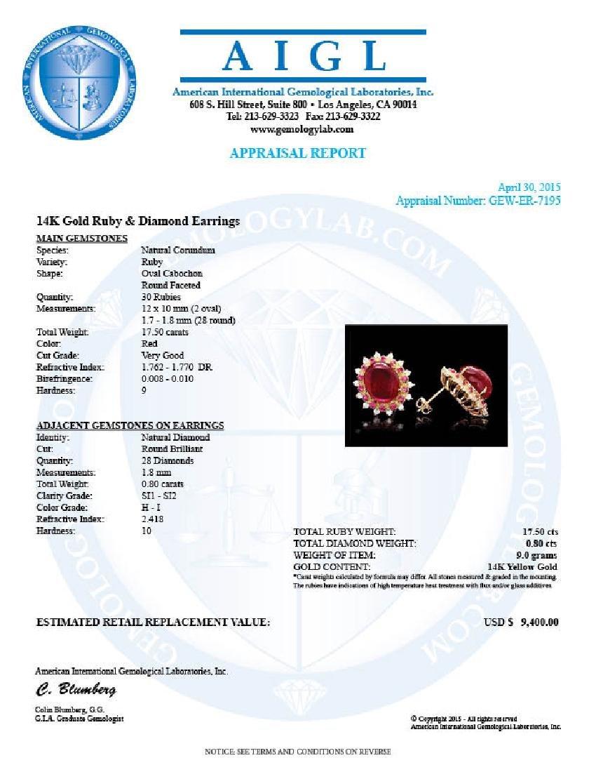 14k Gold 17.5ct Ruby 0.80ct Diamond Earrings - 5