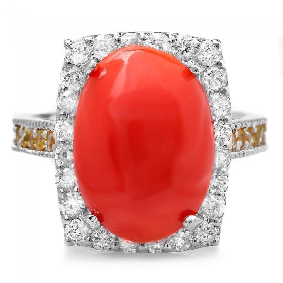 14k White Gold 5.50ct Coral 1.00ct Diamond Ring - 2