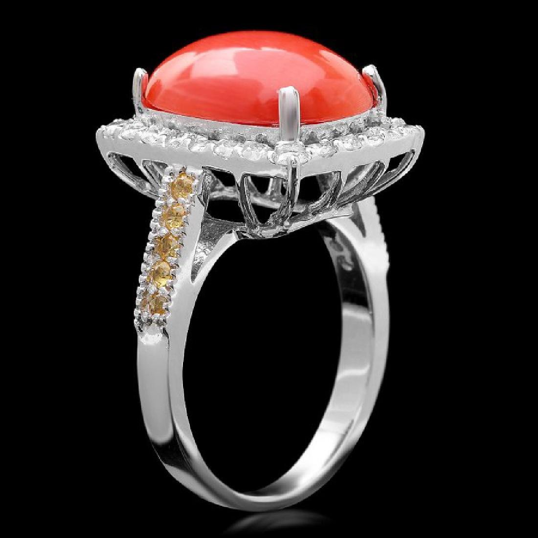 14k White Gold 5.50ct Coral 1.00ct Diamond Ring - 3