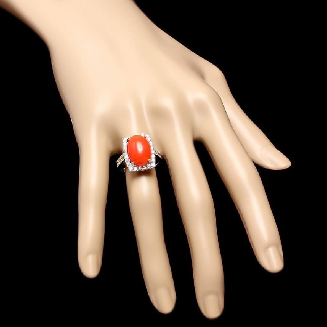 14k White Gold 5.50ct Coral 1.00ct Diamond Ring - 4