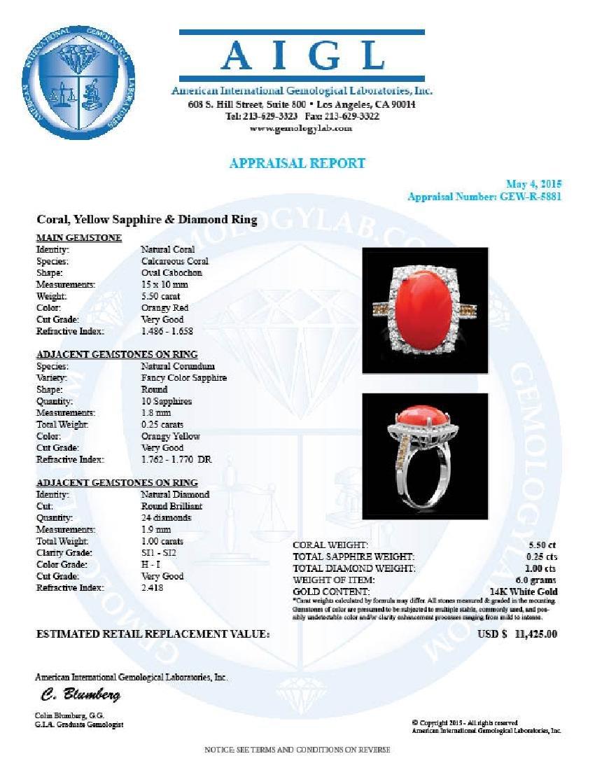 14k White Gold 5.50ct Coral 1.00ct Diamond Ring - 5