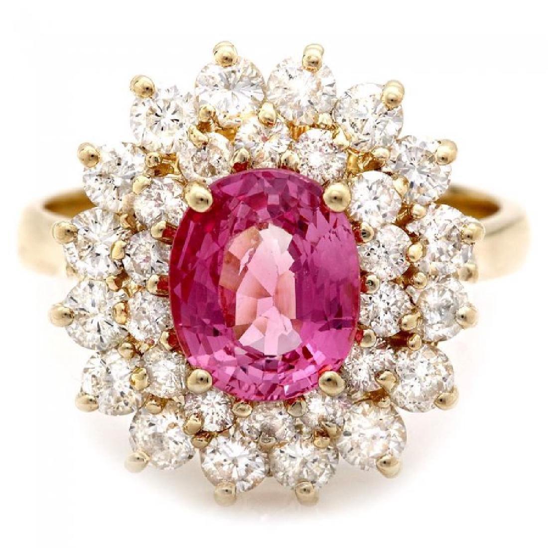 14k Gold 2ct Tourmaline 1.70ct Diamond Ring - 2