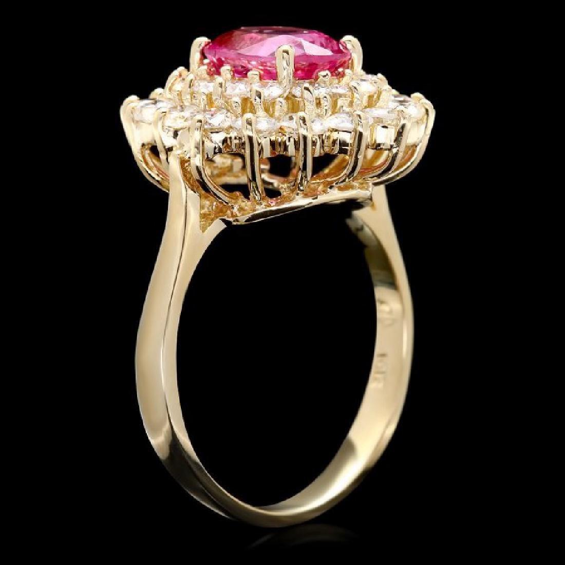 14k Gold 2ct Tourmaline 1.70ct Diamond Ring - 3